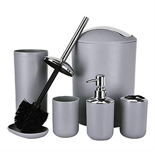 uublik Bathroom Accessories Set- 6 Pcs Luxury Plastic Toilet Brush Accessories Set with Toothbrush Holder/Toothbrush Cup/Soap Dispenser/Soap Dish/Toilet Brush Holder/Trash Can (Grey)
