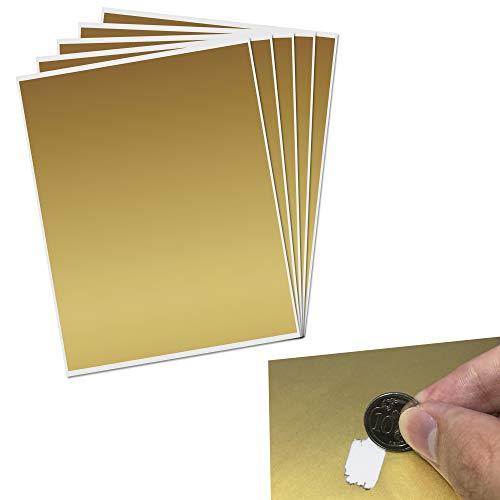 23,5 x 20cm, Grande Gratta e Vinci (Scratch Cards) Adesivo, Oro, 5 fogli