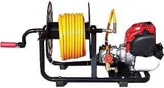 Motor y bomba de sulfatar 4 tiempos 30bar 10ltr. con enrollador y bomba de 2 pistones de acero con cabeza cerámica.