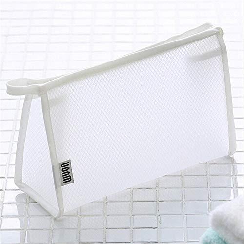 Nouveau PVC transparent cosmétiques Sac Femmes Voyage Waterproof des sacs Trousse de toilette Organisateur de maquillage (Color : White)