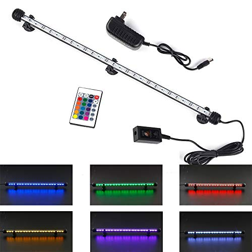 FINEIAM Led Aquarium Light,Submersible Underwater Light with Remote Controlled Dimmable for Fish Tank, 16 Color 4 Mode Light,23'