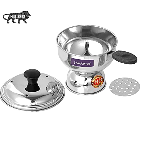 Blueberry's Stainless Steel Chiratta Puttu Maker with Lid and Pressure Cooker Use|Made in India (Silver)