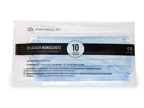 Schutzmaske Mundschutz, 10er Pack, Einweg 3-lagig Gummizug Atemschutzmaske Staubschutz Maske CE Zertifiziert EN 149:2001 + A1:2009