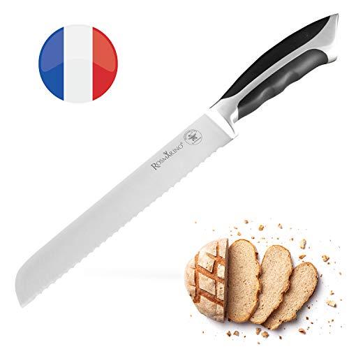 ROSMARINO Brotmesser mit Wellenschliff - Küchenmesser aus Spezialklingenstahl - Kochmesser mit Ergonomisches Griff, Gesamtlange 34 cm, Klinge 21 cm