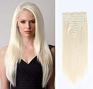 SixStarHair Ash Blonde Clip On Hair Extensions Grade 9A Remy Virgin Human Hair 180g Luxury Clip In Hair Extensions 10 Pieces Wefts For Full Head [Color 60 Ash Blonde 20inch]