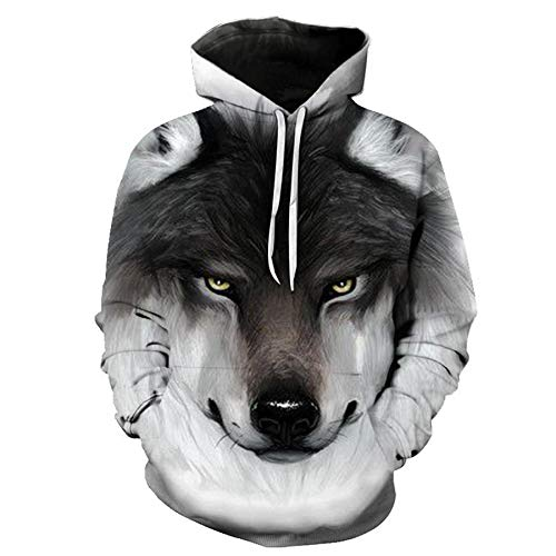 Autumn Casual 3D Wolf Head Print Loose Hoodie Sweater 9 Code Men and Women Same Style