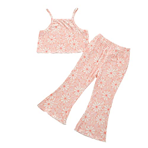 Grace&Nora Conjunto de 2 piezas de ropa de verano para niña pequeña, estampado floral, estampado de leopardo, sin mangas, con pantalones acampanados