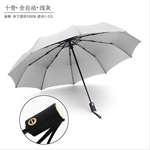 YSZYSA 50 stücke 10 Karat Automatische Regenschirm DREI Taschenschirm Männer und Frauen Business Regenschirm Großhandel Werbung Regenschirm Benutzerdefinierte LogoGold Griff