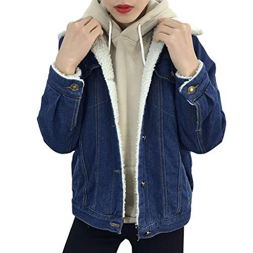 KUKICAT Jeansjacke Damen Blau Langarm Plus Samt Kurze Jeansjacke Pullover