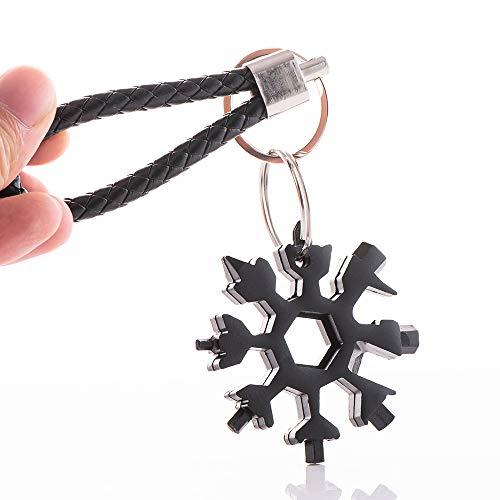 OOK Snowflake 18 en 1 - Multiherramienta para colgar llaves, destornillador, abrebotellas, snowboard, multiherramienta con cadena de punto negra