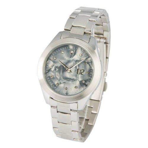 Elegante MARQUIS Damen Funkuhr Armbanduhr (Junghans-Uhrwerk), Perlmutt Zifferblatt mit Kristallsteinchen - 964.4107