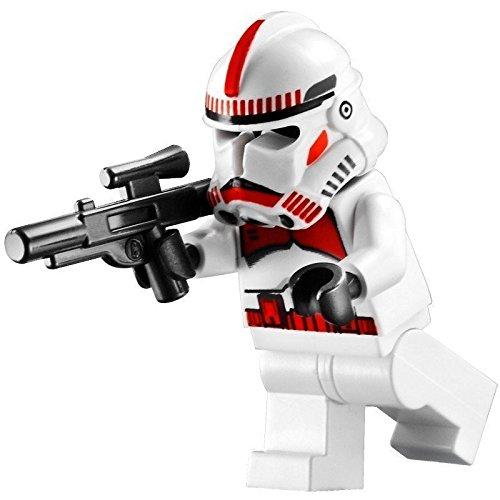 LEGO Star Wars - Minifigur Clone Trooper / Shock Trooper Episode 3 mit Sturmgewehr - rote Markierungen auf Helm und Oberkörper