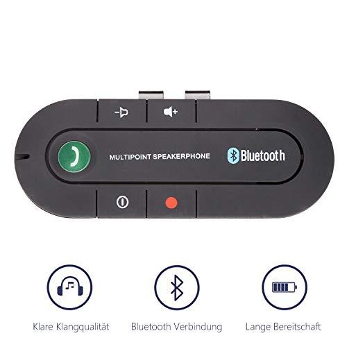 VINGO Bluetooth Freisprecheinrichtung Kfz Freisprechanlage Auto Bluetooth V4.2 Sonnenblende Car-Kit Automatische Abschaltung und Aktivierung Möglich Musik