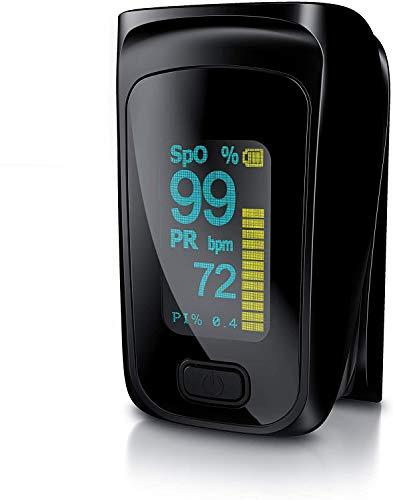 Medicinalis - Oxímetro de pulso de dedo - Pulsioxímetro - Frecuencia cardíaca - Monitor del ritmo cardiaco y de la saturación de oxígeno SpO2 en la sangre - Pantalla LED con indicador de batería