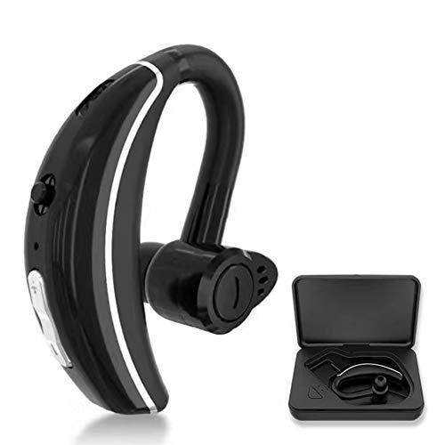 Wsaman Auriculares Deportivos, Auricular Viaje In-Ear Cascos Bluetooth Inalámbricos Reducción de Ruido Manos Libres para Deportes/Oficina en Casa/Trabajo Earbuds,Black+charg Case