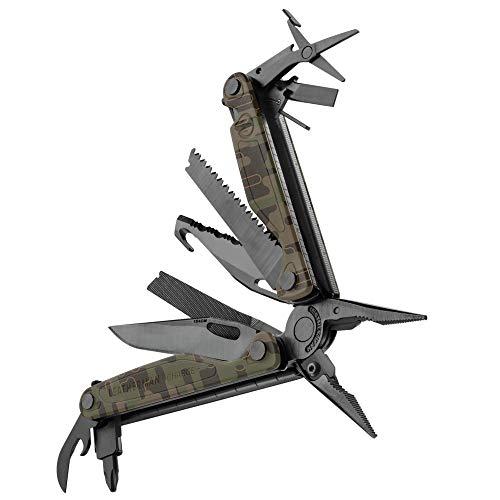 LEATHERMAN Charge Plus Multi-Tool mit 19 Werkzeugen, einhändig zu öffnende Tools, Forest Camo mit Nylon Holster