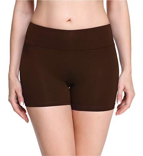 Merry Style Damen Shorts Radlerhose Unterhose Hotpants Kurze Hose Boxershorts aus Viskose MS10-284(Braun,M)