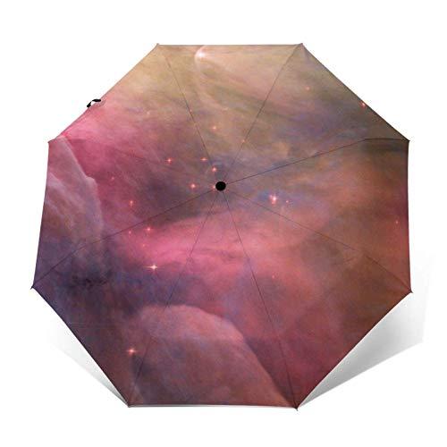 Paraguas automático de tres pliegues con cierre automático y hermoso color rosa para evitar el viento, la lluvia y los rayos UV.