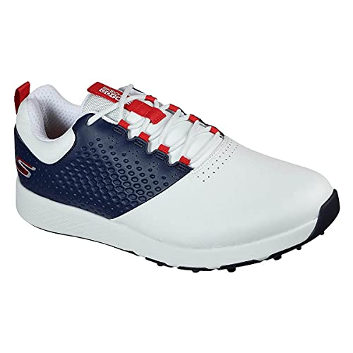 Skechers 54552 - Scarpe da golf impermeabili da uomo GO GOLF Elite 4 in pelle, Uomo, Bianco Navy Red, 12 UK