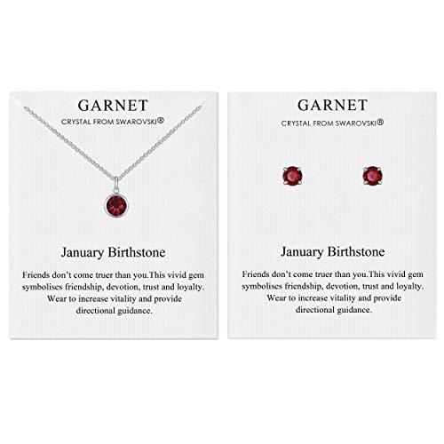 Philip Jones January (Garnet) Birthstone Necklace & Earring Set Created with Austrian Crystals