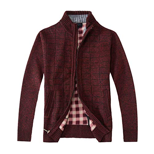 Gioberti Men's Knitted Regular Fit Full Zip Cardigan Sweater with Soft Brushed Flannel Lining, Melange Wine, XX Large