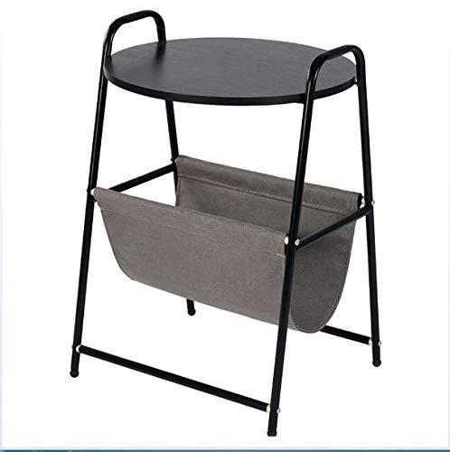 XUSHEN-HU Mesa redonda multifunción, mesita de noche, mesa de noche, mesa de escritorio con cesta de almacenamiento, soporte para cama, sofá