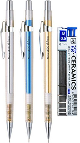 eMicro Metal Jedo Mechanical Pencil M106 Bundle with Lead Refill, 0.5mm, Assorted Colors (3-Pack + Lead, Assorted)