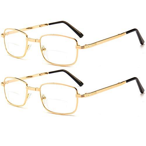 FXYY Compacte opvouwbare leesbril, 2-delig pak heren dames + 1,0, 1,5, 2,0, 2,5, 3,0 lees- & reisbril, Readers Compact Folding Unisex bril inclusief behuizing