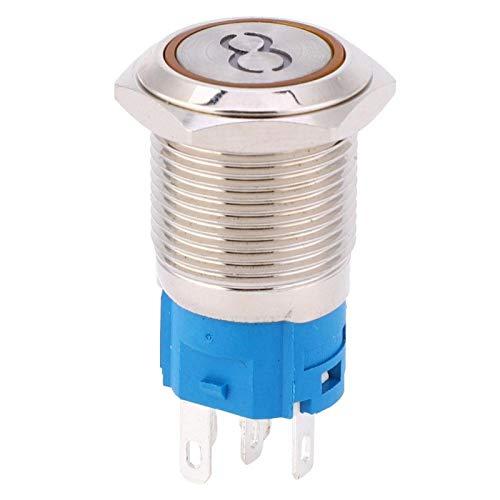 Interruptor de Botón Plano, 2 Piezas Interruptor de Botón de 16 mm Botón de 5 Pines de Auto-reinicio de Cabeza Plana de Acero Inoxidable con Símbolo '8'(Yellow 12VDC)