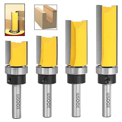 WSOOX 4 teilig Bündigfräser with Schaft 8 mm, Professional Zubehör, Holz Fräser Router Bit Oberfräser