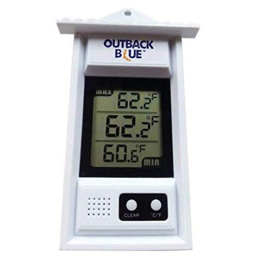 Outback Blue Digital Min/Max Thermometer. Für Garten, Terrasse oder Gewächshaus. Ein Wetterthermometer das die aktuelle Temperatur sowie Minimum und Maximum mit Auto-Sensor anzeigt.