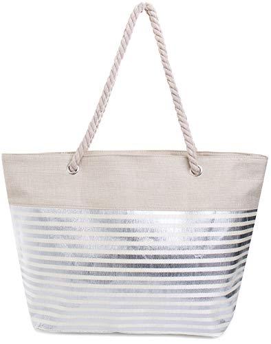 Faera Strandtasche mit glänzendem Streifen oder Leoparden-Muster XXL Shopper Beach Bag...