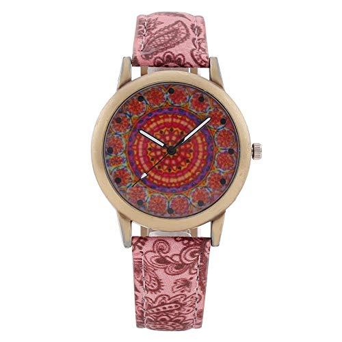 JZDH Relojes de Las Mujeres Bohemios Damas Azul Y Blanco Porcelana Étnicos Ven Reloj De Señora Señoras Reloj De Pulsera Reloj De Cuarzo Señora Reloj (Color : Pink)