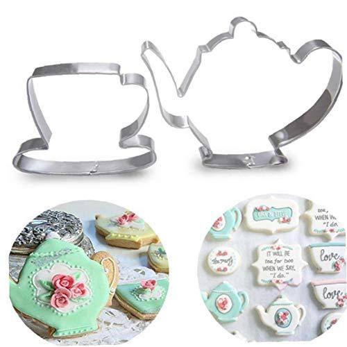 Case Cover 2st Teekanne Tee-Schalen-Set Ausstecher Edelstahl-Fondant-Kuchen-Form-Werkzeug Für Heim