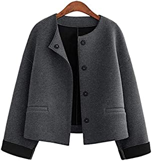 YXHM A Winter New Women's Large Size Loose Small Fragrant Wind Round Neck Short-haired Coat it (Color : Grey, Size : XL)