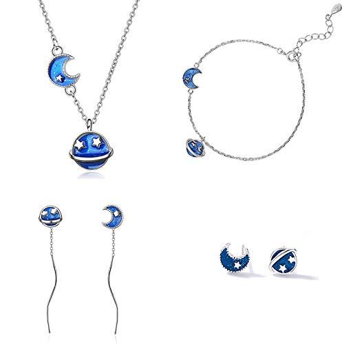 XKMY 925 plata esterlina azul originalidad estrella luna asimetría conjuntos exquisito único para mujeres niña regalo joyas para mujeres