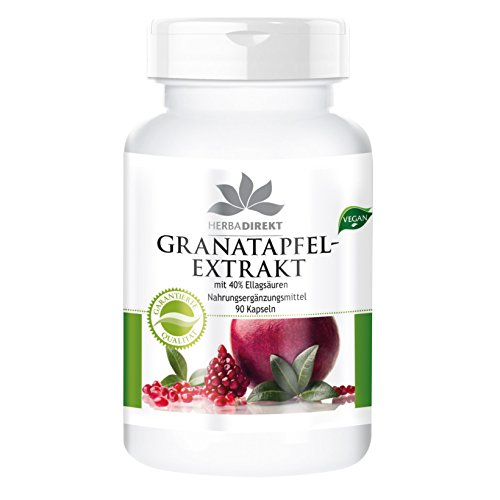 Granatapfel-Extrakt 500mg - hochdosiert - mit 40% Ellagsäuren - vegan - 90 Kapseln - Hergestellt in Deutschland