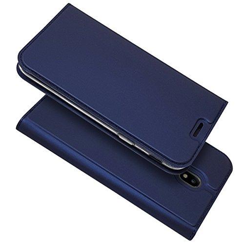 Copmob Funda Samsung Galaxy J7 2017,Ultradelgado Flip Libro Funda de Cuero PU,[Cierre Magnético][1 Ranura][Función de Soporte],Carcasa Case para Samsung Galaxy J7 2017 - Azul