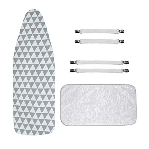 SUPDEJA Large Printed Ironing Board Cover Resist Scorching and Staining Ironing Board Cover and Pad with 4 Fasteners and 1 Heat Insulated Mesh Cloth Elastic Edge 18quot X 58quot