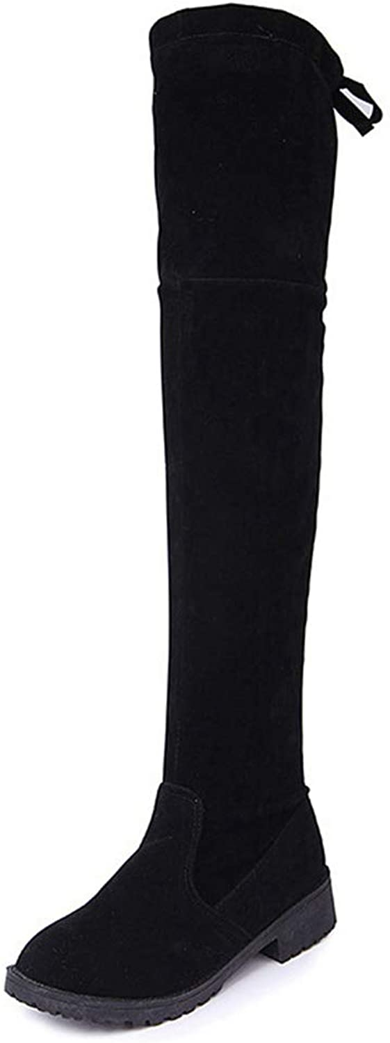 Women Low Heels shoes Stretch Fabric Thigh High Boot Over The Knee Ladies Fashion Long Boots