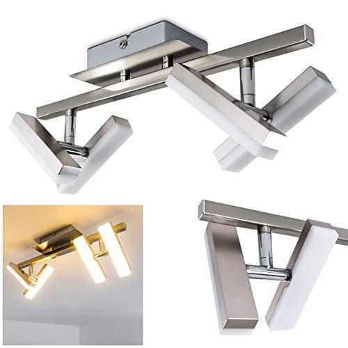 LED plafondlamp Sakami, plafondlamp in mat nikkel, 4-vlam, met 4 verstelbare spots, 2 Watt elk, 175 lumen (700 lumen totaal), lichtkleur 3000 Kelvin (warm wit)
