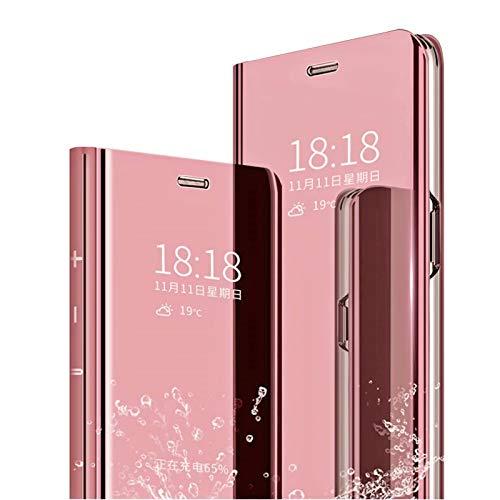 MLOTECH Compatibile Cover Samsung A70,Custodia + Vetro temperato Flip Traslucido Clear View Specchio Standing Cover Anti Shock Placcatura Smart Cover Custodia Protezione Oro Rosa