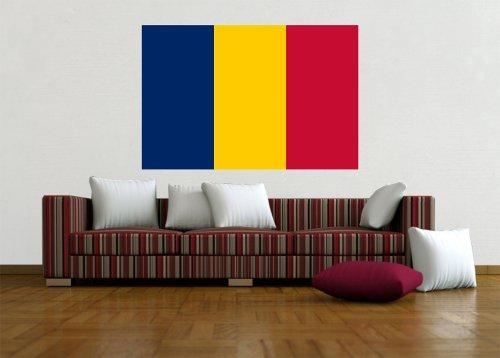 Kiwistar Wandtattoo Sticker Fahne Flagge Aufkleber Tschad 60 x 40cm