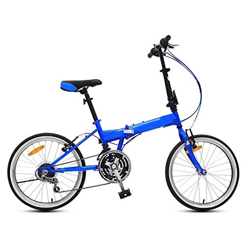 20 Pulgadas Bicicleta Bici Ciudad Plegables Adulto Hombre Mujer, Bicicleta de Montaña Btt MTB Ligero Folding Mountain City Bike Doble Suspension Bicicleta Urbana Portátil, H066ZJ (Color : Blue)