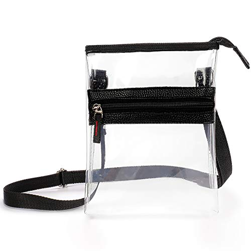 Clear Cross-body Purse Bag -Stadium Approved Tote Bag for Work Concerts Sports