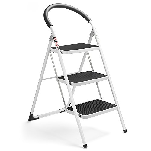 Delxo 3 Step Ladder Folding Step Stool 3 Step ladders with Handgrip Anti-Slip and Wide Pedal Sturdy Steel Ladder 330lbs White and Black Combo (3 feet) (3 Step Ladder) Massachusetts