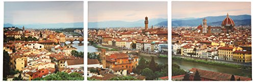 iCanvasART Buildings in Ponte Vecchio, Florence, Tuscany, Italy by Panoramic Images 3-Piece Canvas Art Print, 36 by 12-Inch