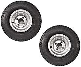 2-Pack Trailer Tires On Galvanized Wheel Rims 18.5X8.5-8 215/60-8 Load C 4 Lug