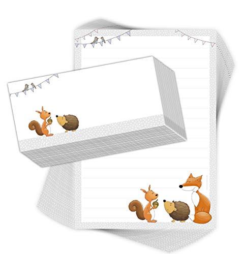 """Juego de papel de carta para niños """"animales del bosque"""" 20 hojas DIN A4 con líneas, incluye 20 sobres impresos/papel de carta para niños y niñas"""