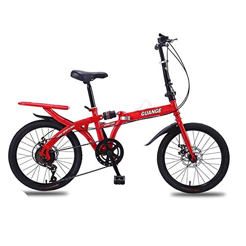 WXQ-XQ Free 16/20 Inch Folding Bicycle Shift Shock Absorbing Mounting Light Cycling Adult Men and Women Students Outdoor Sports Mountain Bike (Color : Red, Size : 16inch)